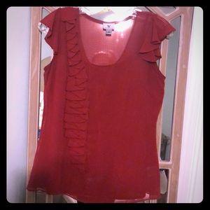 Crimson ruffle blouse